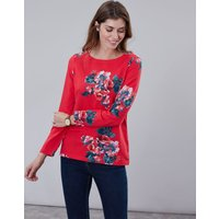 Red Floral Harbour Print Long Sleeve Jersey Top  Size 10