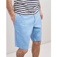 Soft Blue Laundered Linen Mix Oxford Chino Shorts  Size W34