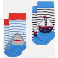 MULTI BOAT SHARK Neat feet Character Socks Two Pack  Size 6m-12m