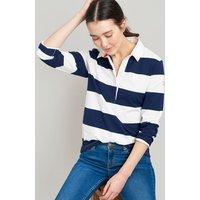 Cream Navy Stripe Amber Ladies Rugby Shirt  Size 8
