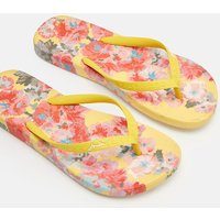 Yellow Floral Flip Flops  Size Adult 8