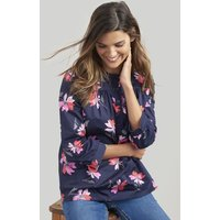 NAVY FLORAL Emily Notch Neck Top