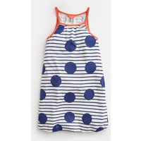 BLUE LARGE SPOT AND STRIPE Tamzin Strappy Swing Dress 3-12 Yr  Size 6yr