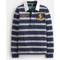 Navy Grey Marl Stripe Woodrow Stripe Rugby Shirt 3-12Yr  Size 11Yr-12Yr
