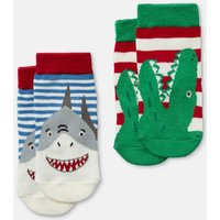 Multi Shark Dino Neat Feet Pack Of Two Character Socks  Size 12M-24M