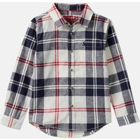 Cream Navy Check Sark Checked Shirt 1-12 Years  Size 7Yr-8Yr