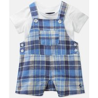 Blue Multi Check Duncan Check Woven Dungaree And T-Shirt Set  Size 18M-24M