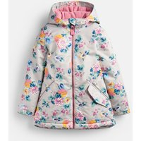 Grey Floral Raindrop Waterproof School Coat 3-12 Years  Size 6Yr
