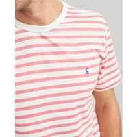 Cream Pink Stripe Boathouse Tee Striped Crew Neck T-Shirt  Size Xl