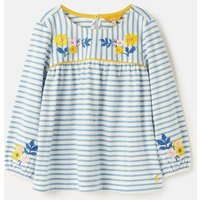 Cream Lake Blue Stripe Phoebe Luxe Embroidered Jersey Smock Top 3-12 Years  Size 7Yr-8Yr