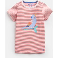 Coral Stripe Parrot Astra Jersey Applique Top 3-12Yr  Size 11Yr-12Yr