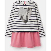 Navy Stripe Sequin Heart Lucy Mock Layer Dress 3-12 Years  Size 5Yr