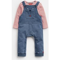 DENIM BEAR DUNGAREE Wilbur Jersey Denim  Dungaree Set  Size 3m-6m