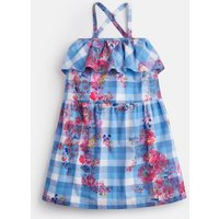 Blue Floral Gingham May Cross Over Back Dress 3-12 Yr  Size 3Yr