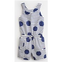 BLUE LARGE SPOT AND STRIPE Alexa Cross Back Playsuit 3-12 Yr  Size 7yr-8yr