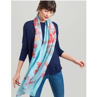 Aqua Floral Wensley Printed Scarf  Size One Size