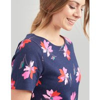 Navy Floral Riviera Print Dress With Short Sleeves  Size 10