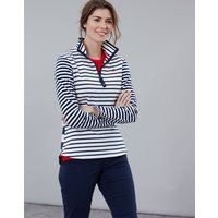 Cream Navy Stripe Fairdale Sweatshirt With Zip Neck  Size 8