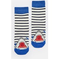 NAVY STRIPE SHARK Eat feet Character Socks  Size Size 9-12