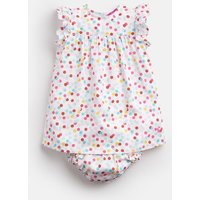 White Multi Spot Betty Woven Dress And Knicker Set  Size 9M-12M