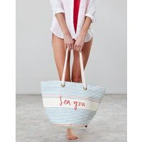 Cream Sea Stripe Seaside Summer Beach Bag  Size One Size