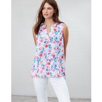 White Multi Floral Juliette Print Sleeveless V Neck Top  Size 8