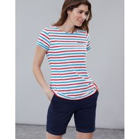 Cream Red Blue Stripe Nessa Embroidered Lightweight Jersey T-Shirt  Size 18