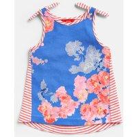 Blue Floral Iris Shoulder Knot Vest 3-12 Yr  Size 5Yr
