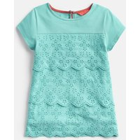 TURQUOISE Brodie Broderie Detailed Top 3-12 Yr
