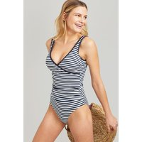 Navy Stripe Meredith Wrap Swimsuit  Size 16