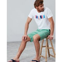 White Surf Board Placement Graphic Print Crew Neck T-Shirt  Size S