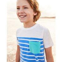 Cream Light Blue Stripe Caspian Stripe T-Shirt 3-12 Yr  Size 7Yr-8Yr