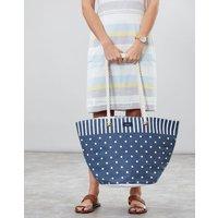 Navy Spot Stripe Summer Printed Beach Bag  Size One Size