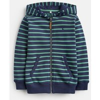 FRENCH NAVY AND GREEN STRIPE 204642 Hooded Zip Through Sweatshirt  Size 7yr-8yr