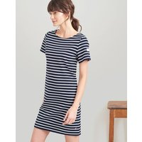 Navy Cream Stripe Riviera Dress With Short Sleeves  Size 16