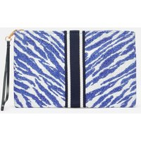 Mila Printed Paper Clutch with Ribbon Applique