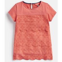 BRIGHT CORAL Brodie Broderie Detailed Top 3-12 Yr  Size 6yr