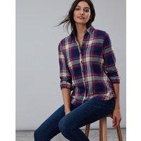 Berry Check Lorena Longline Brushed Woven Shirt  Size 8