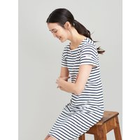 Cream Navy Stripe Riviera Long Line Jersey Dress  Size 8