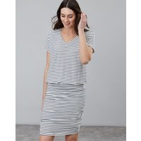 NAVY CREAM STRIPE Candice V Neck Jersey Dress With Gathered Skirt  Size 14
