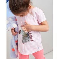Pink Stripe Unicorn Astra Jersey Applique Top 3-12 Yr  Size 7Yr-8Yr