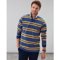 Blue Bright Yellow Stripe Onside Long Sleeve Stripe Rugby Shirt  Size L