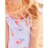 Blue Floral Stripe Isla Ruffle Swimsuit 1-12 Yr  Size 5Yr
