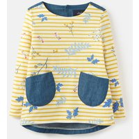 Yellow Stripe Sprig Ria Jersey/ Woven Mix Top 1-6 Years  Size 5Yr