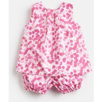 Pink Multi Spot Felicity Woven Top And Bloomer Set  Size 18M-24M