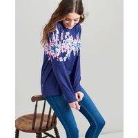 BLUE FLORAL BORDER Ellen Sweatshirt  Size 8