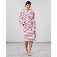Cream Red Stripe Rita Fluffy Dressing Gown  Size L-Xl