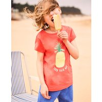 Coral Pineapple Astra Jersey Applique Top 3-12 Yr  Size 7Yr-8Yr