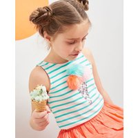 Green Stripe Ice Cream Lou Luxe Tie Back Tank 3-12 Yr  Size 9Yr-10Yr