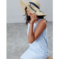 Navy Sunny Days Band Shade Embroidered Sun Hat  Size One Size